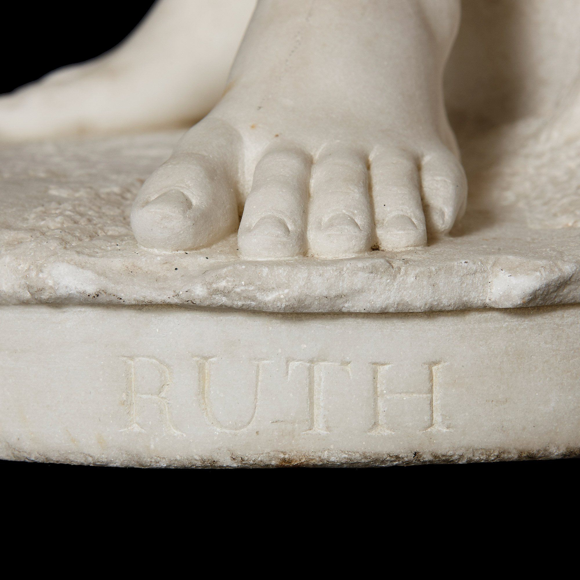 Italian Antique White Carrara Marble Sculpture Of Ruth