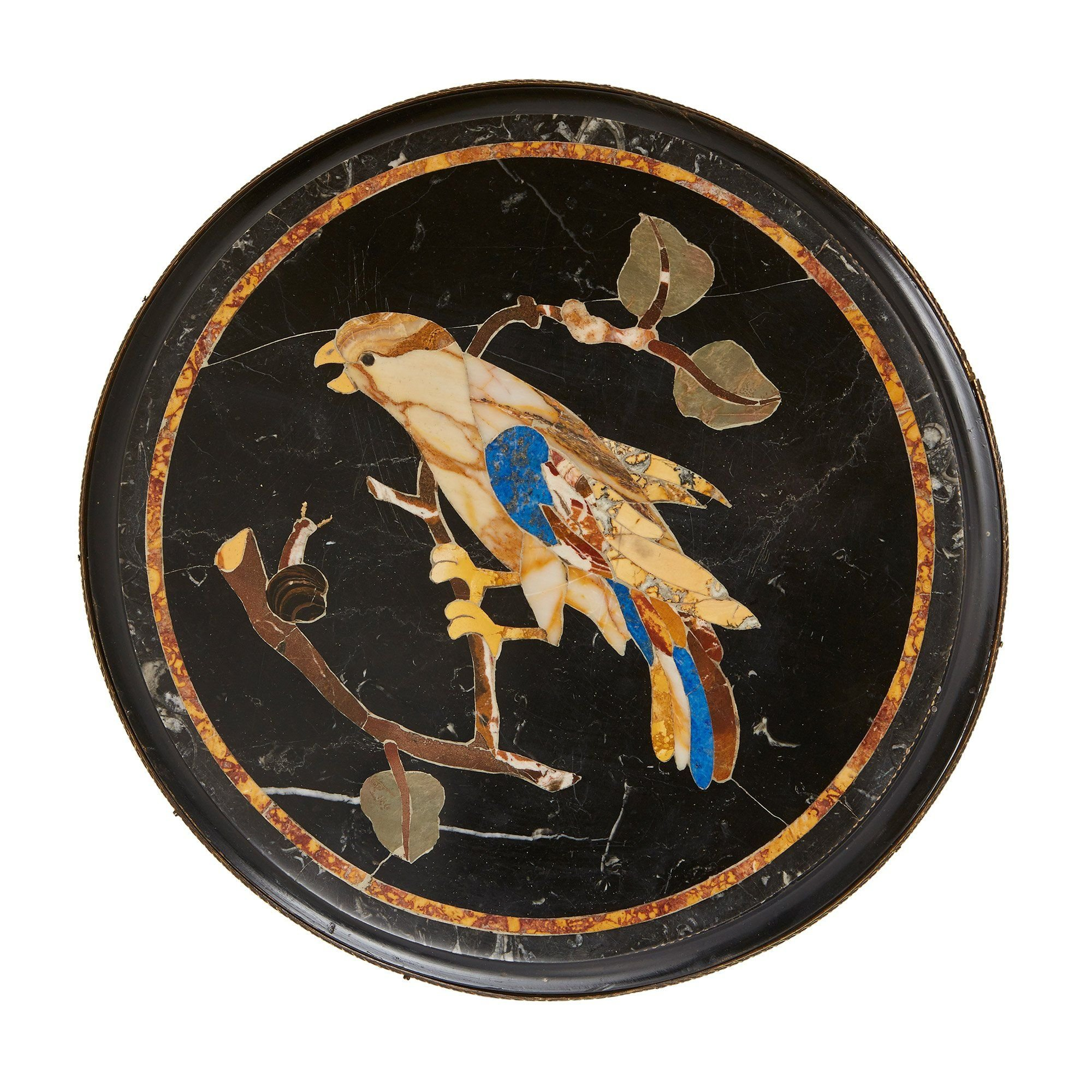 Pair Of Pietra Dura Topped Circular Occasional Tables Mayfair Gallery