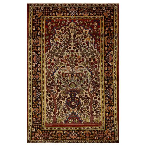Antique Isfahan Persian prayer rug