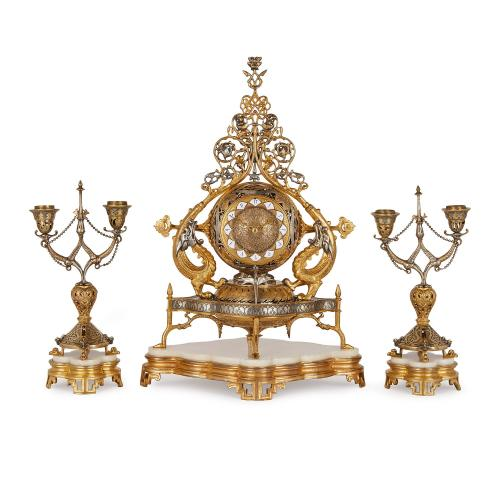 Napoleon III period marble, silvered and gilt bronze clock set