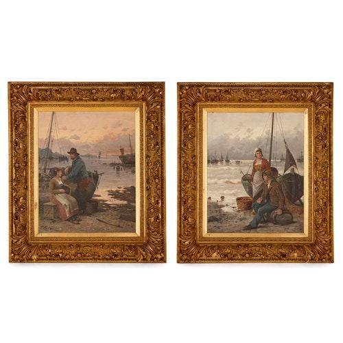 Pair of 19th Century Dutch harbourside paintings by Hörde
