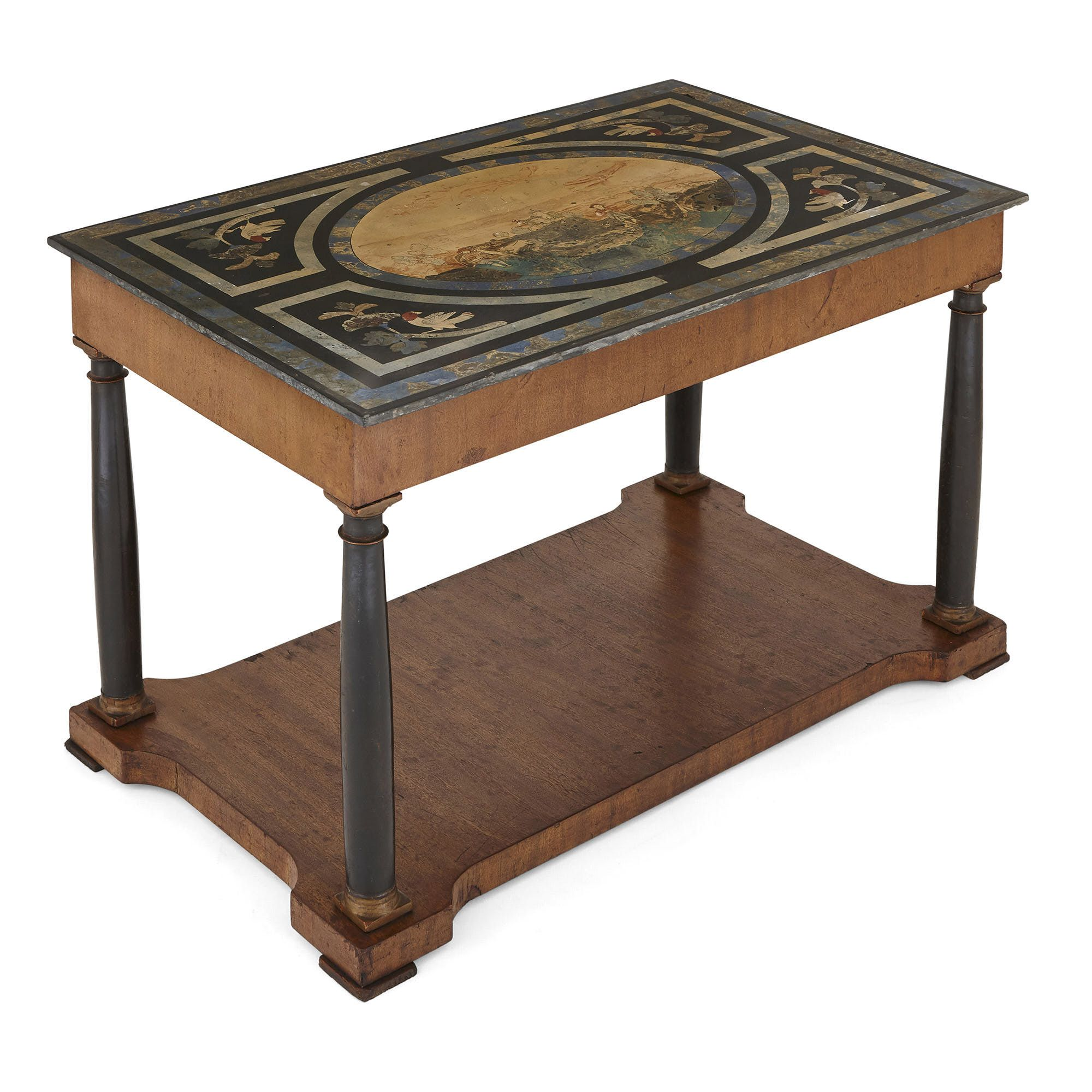 Walnut Coffee Table.Antique Italian Walnut Coffee Table With Scagliola Top