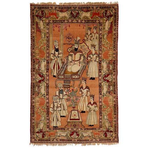 Rare Persian Judaica pictorial Kirman carpet