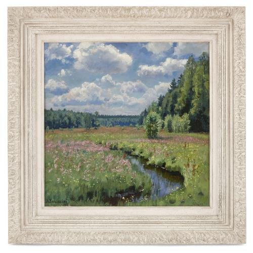 'Summer Meadow in Pobojka', painting by S. Zhukovsky