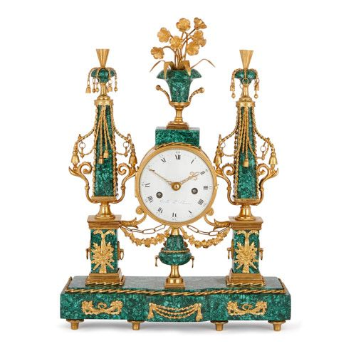 Louis XVI period malachite and ormolu mantel clock by Gavelle
