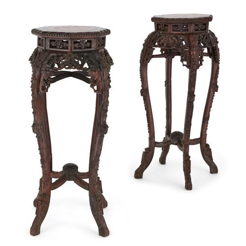 A pair of Chinese antique Hongmu wood and marble pedestals