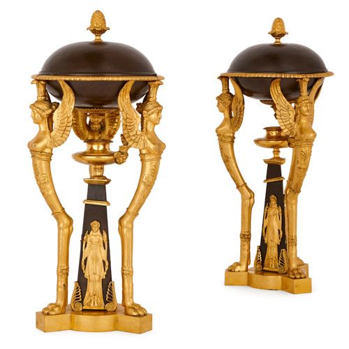 Pair of Empire style gilt and patinated bronze cassolettes