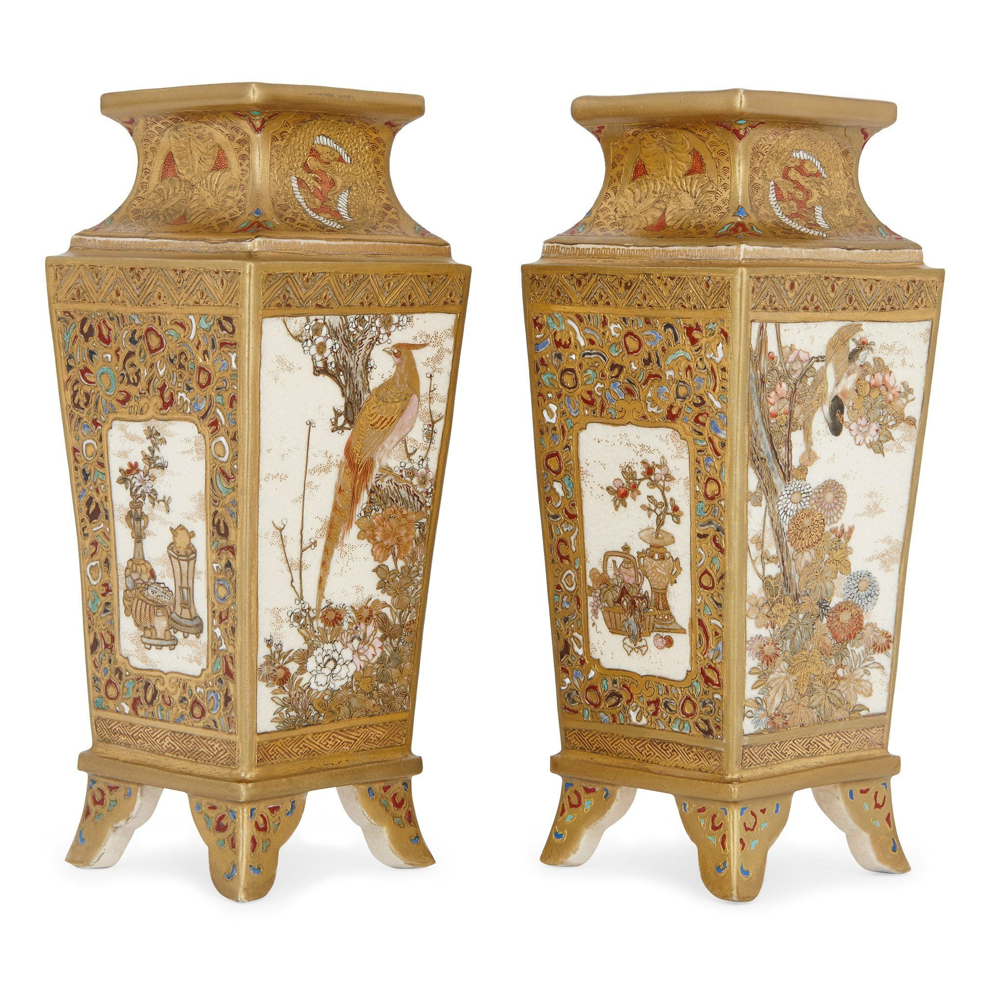 Pair Of Japanese Meiji Period Satsuma Porcelain Vases