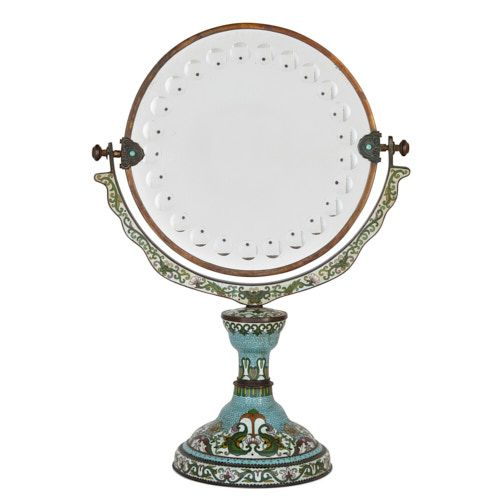 Chinese cloisonné enamel swivel table mirror