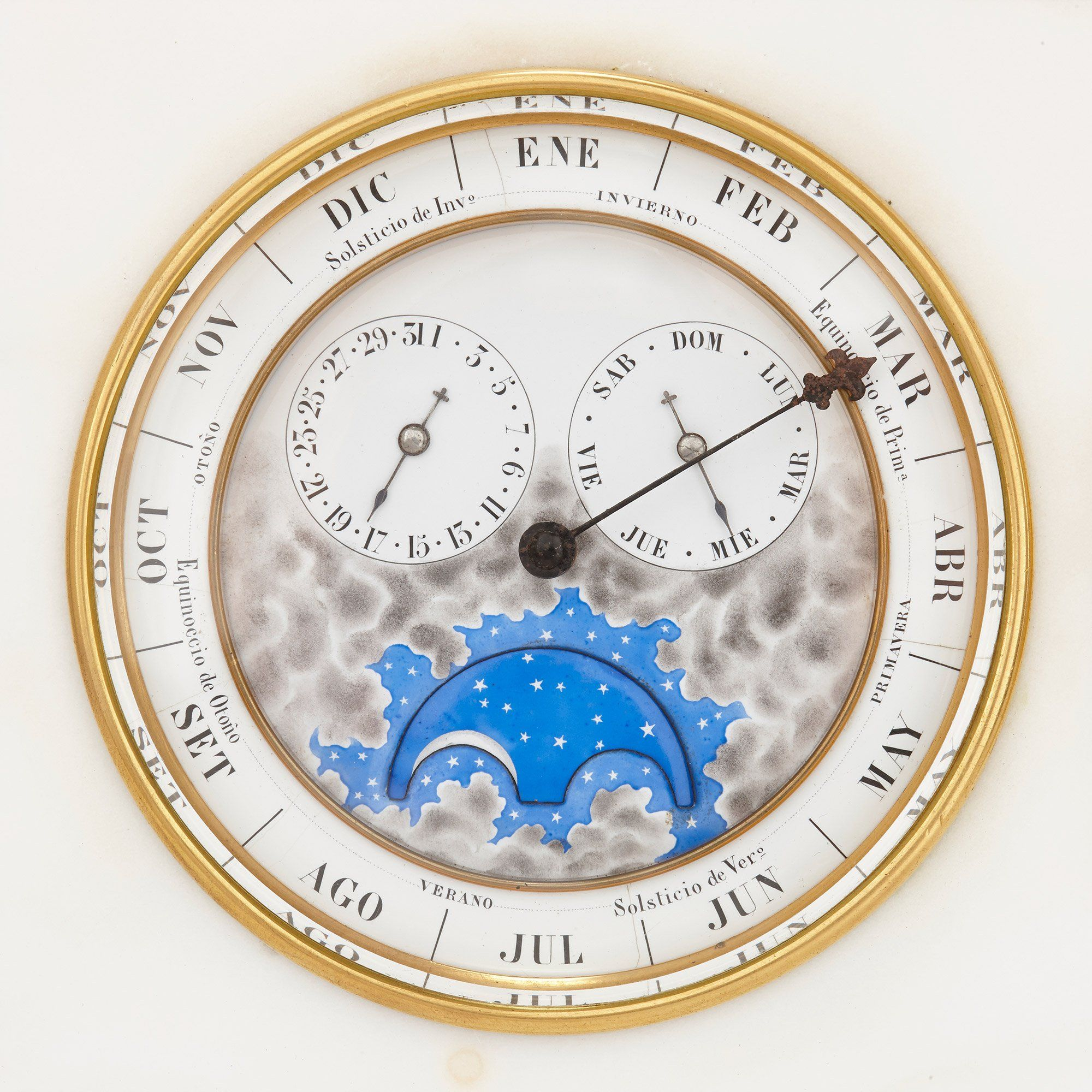 Marble Mantle Clock Barometer Thermometer And Lunar