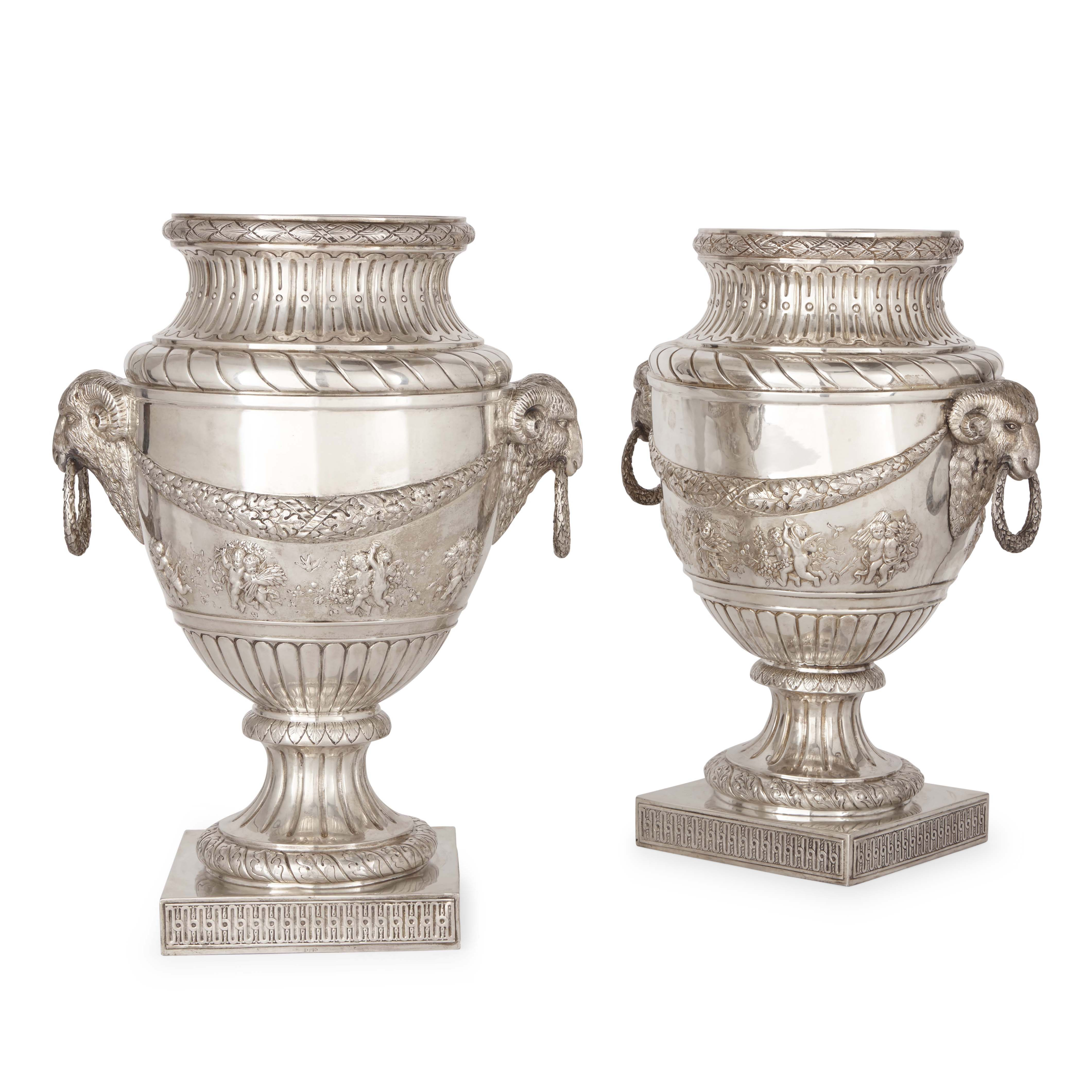 large pair of antique silver vases mayfair gallery. Black Bedroom Furniture Sets. Home Design Ideas