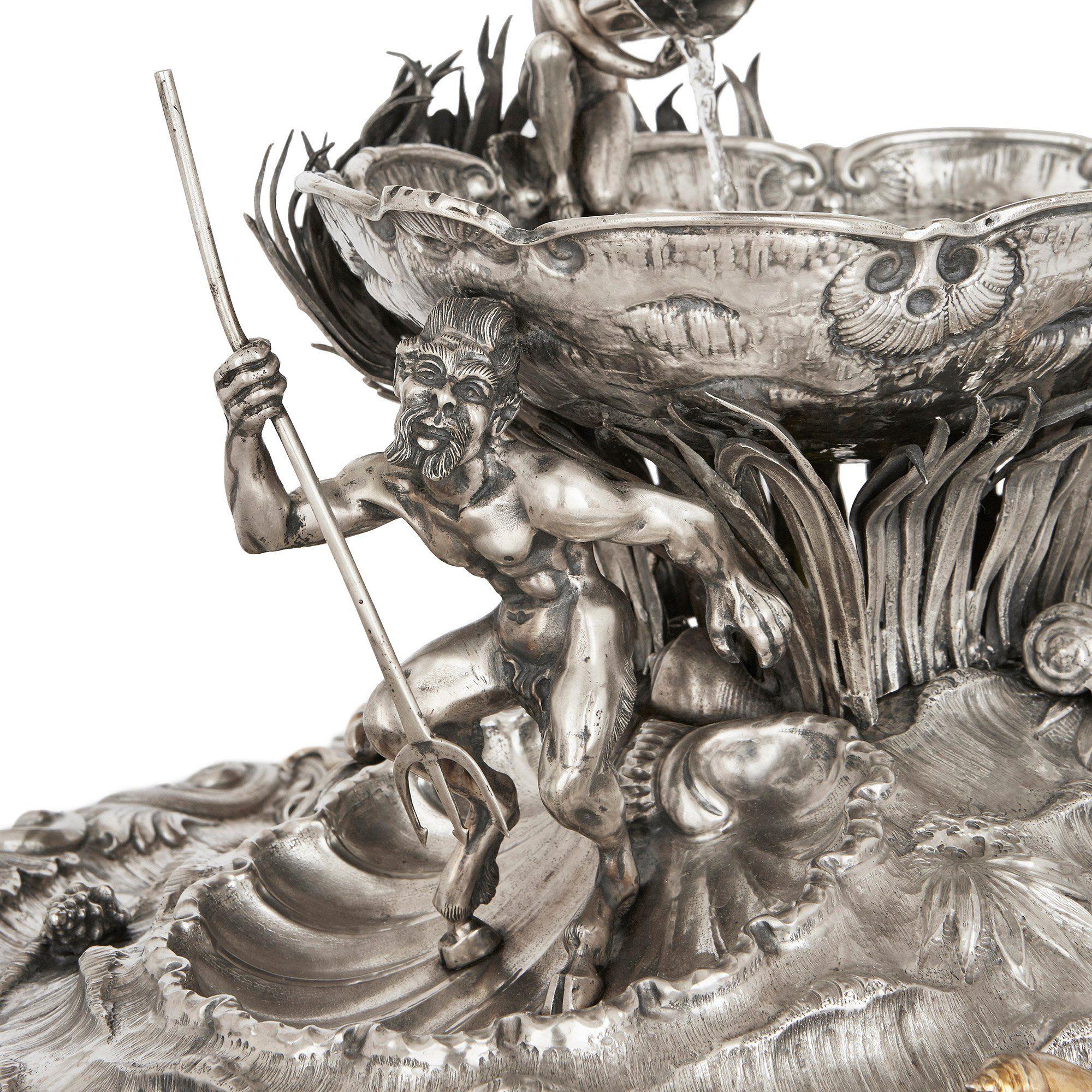 Silver And Silver Gilt Antique Italian Table Fountain