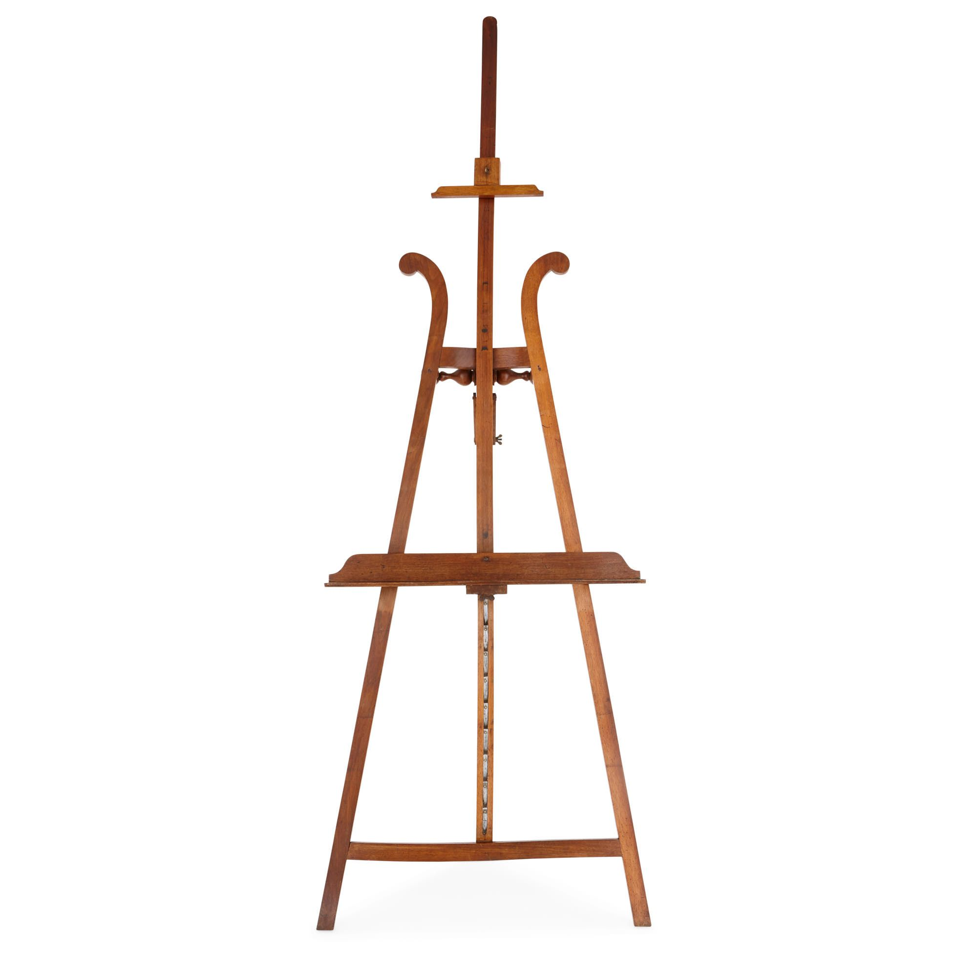 Antique French walnut wood artist's easel   Mayfair Gallery