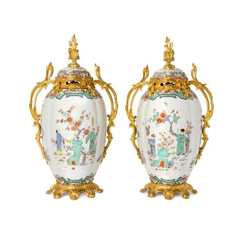 Pair of ormolu mounted Samson porcelain Chinoiserie vases