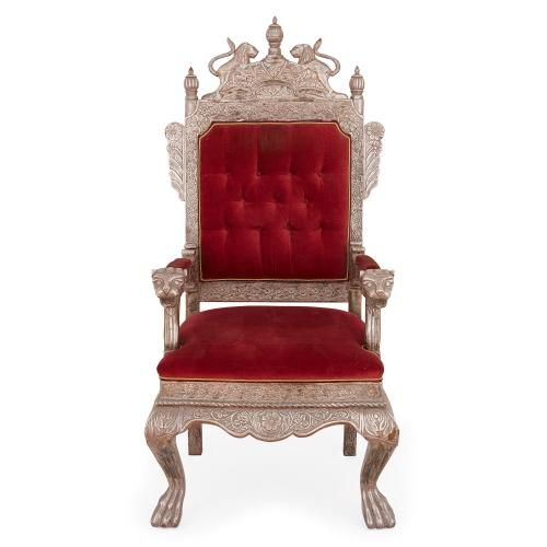 Indian silver throne chair with auburn red upholstery