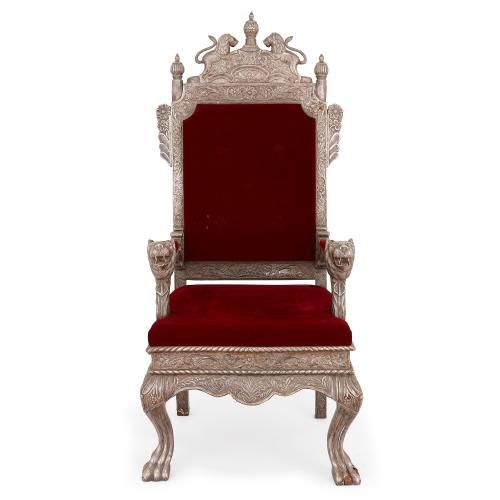 Indian silver throne chair with burgundy red upholstery