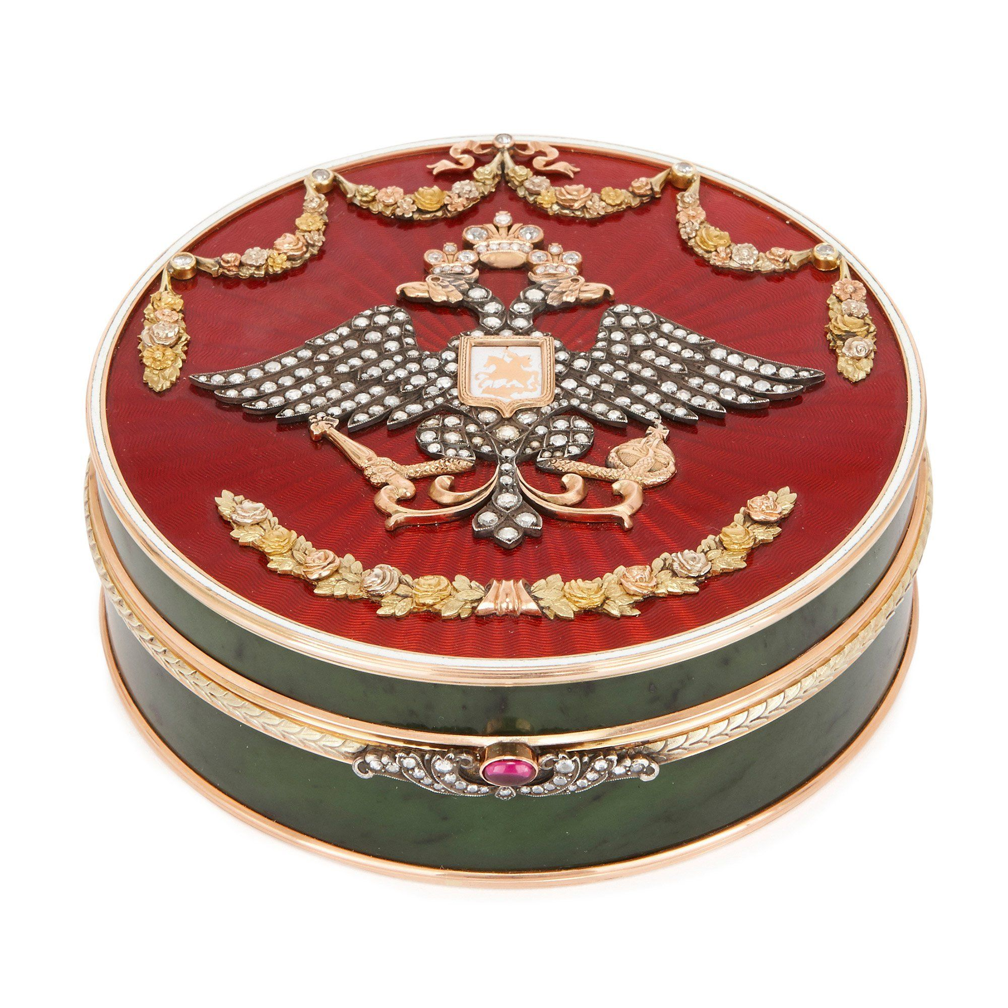 Faberge Style Gold Nephrite Diamond And Enamel Box Mayfair Gallery