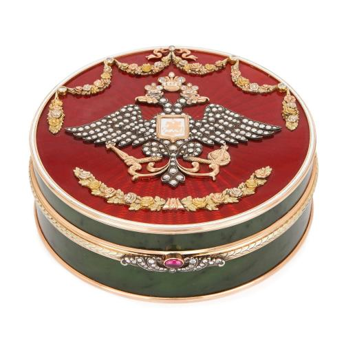 Faberge style gold, nephrite, diamond and enamel box