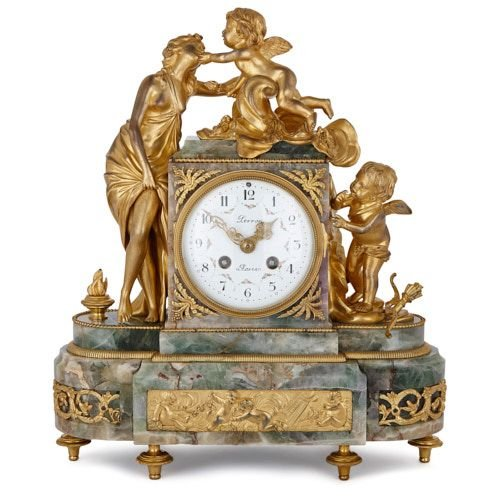French Neoclassical style fluorspar and ormolu mantel clock
