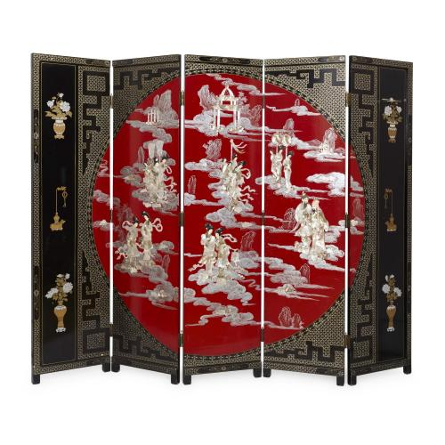 Chinese lacquer, ivory and mother-of-pearl folding screen
