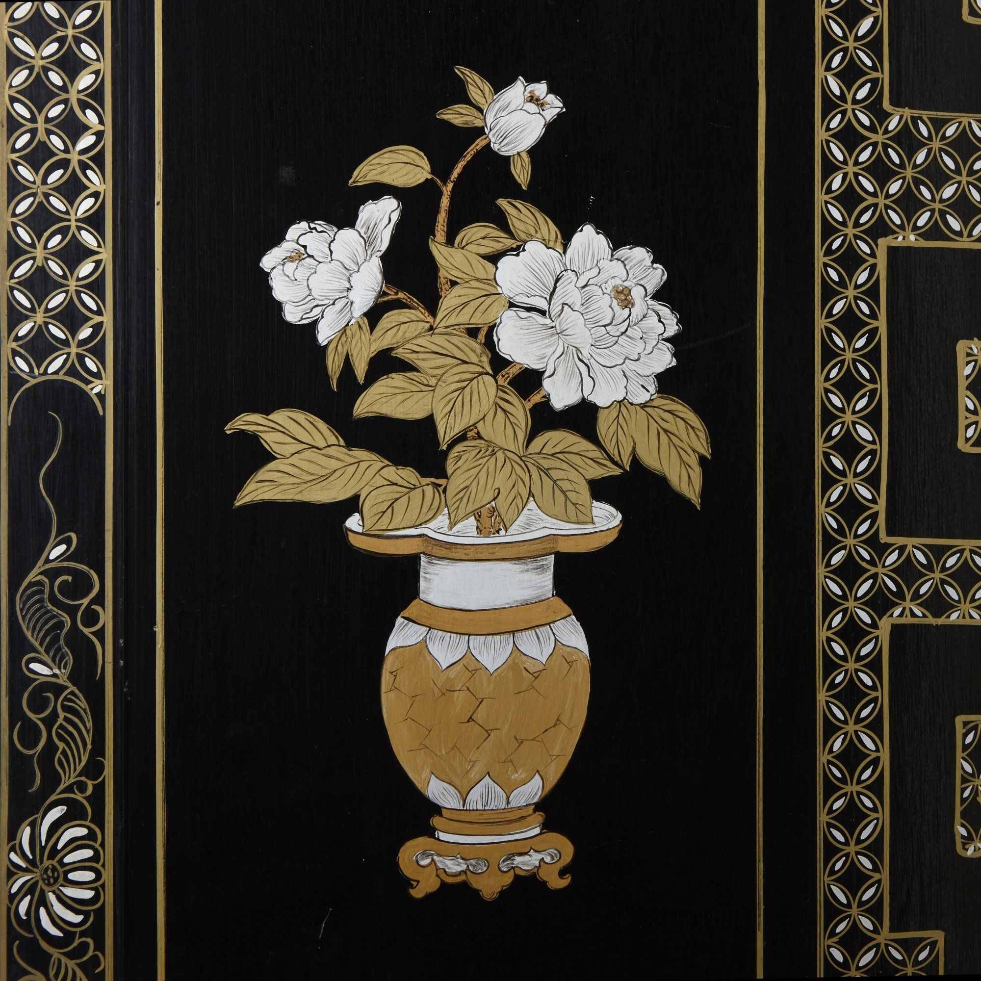 Chinese Lacquer Ivory And Mother Of Pearl Folding Screen