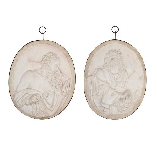 Pair of marble relief plaques of St John and St James