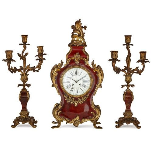 Antique French ormolu and tortoiseshell three piece clock set
