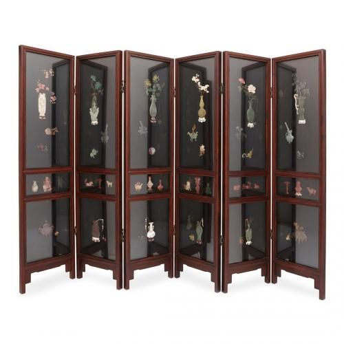 Chinese jade, quartz and ivory six panel folding screen