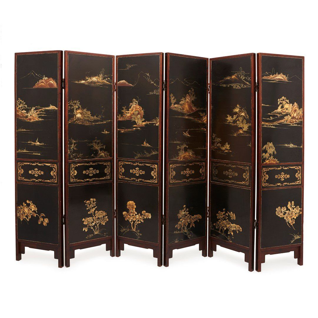 Chinese Jade Quartz And Ivory Six Panel Folding Screen Mayfair Gallery