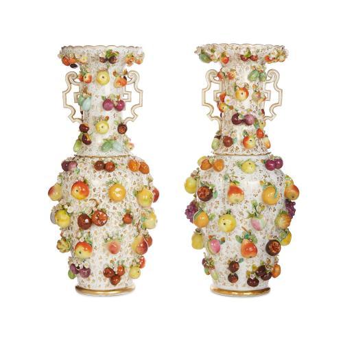 Pair Of Large Antique Dresden Porcelain Vases Mayfair Gallery