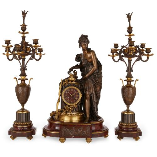 French antique three piece marble and bronze clock set
