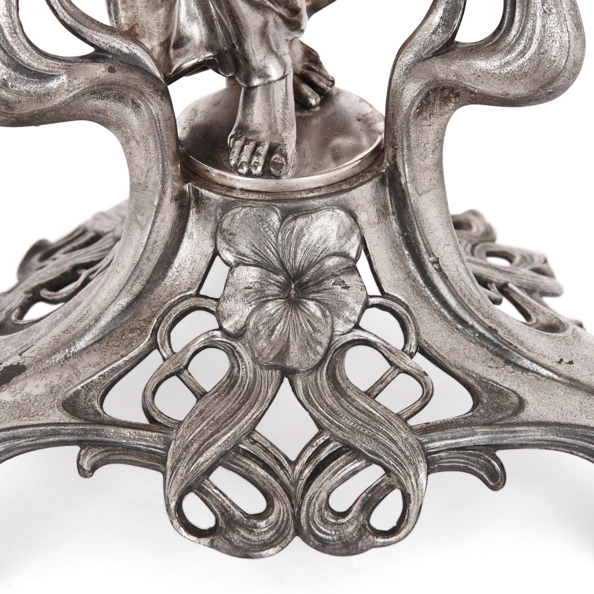 Art Nouveau silvered metal and glass centrepiece by WMF ...