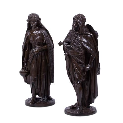 A pair of Orientalist patinated bronze figures by J. Salmson