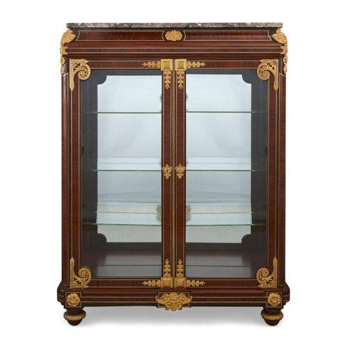 Louis XVI style mahogany and ormolu vitrine by Mercier Frères