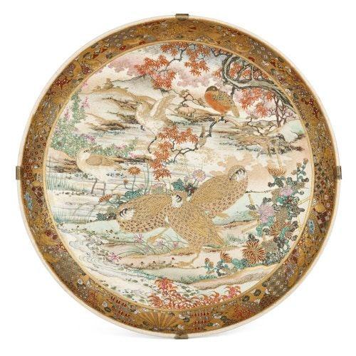 Japanese Meiji period Satsuma porcelain charger