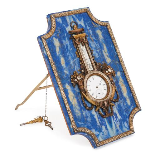 Faberge style lapis lazuli and gilt table clock and barometer