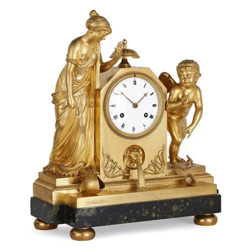 Antique French Empire ormolu mantel clock