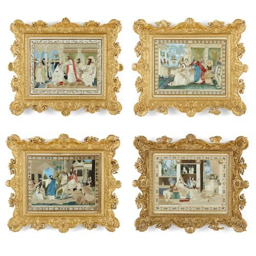 Set of four silkwork pictures depicting the story of Esther
