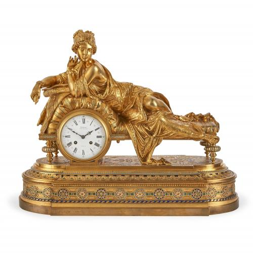 Enamelled ormolu mantel clock by H. Picard and Denière & Fils