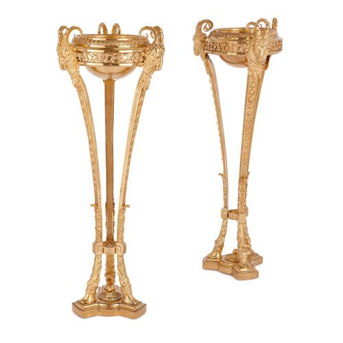 Large pair of antique Louis XVI style ormolu athèniennes