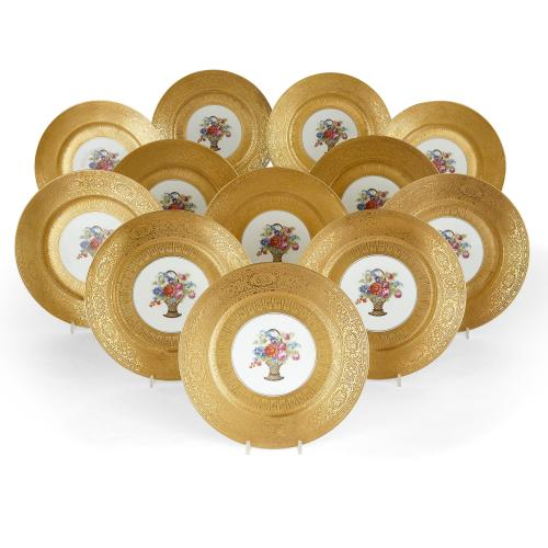 Set of twelve Empire style P.A.L.T. porcelain plates