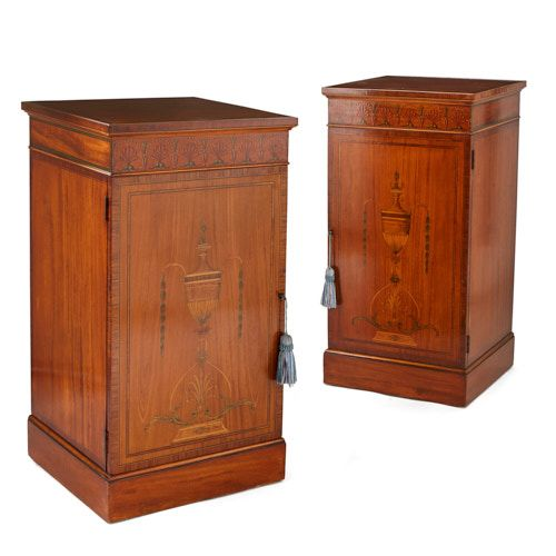 Pair of satinwood and rosewood marquetry pedestal cabinets