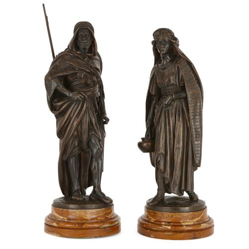 Two Orientalist patinated bronze and marble figures by Salmson