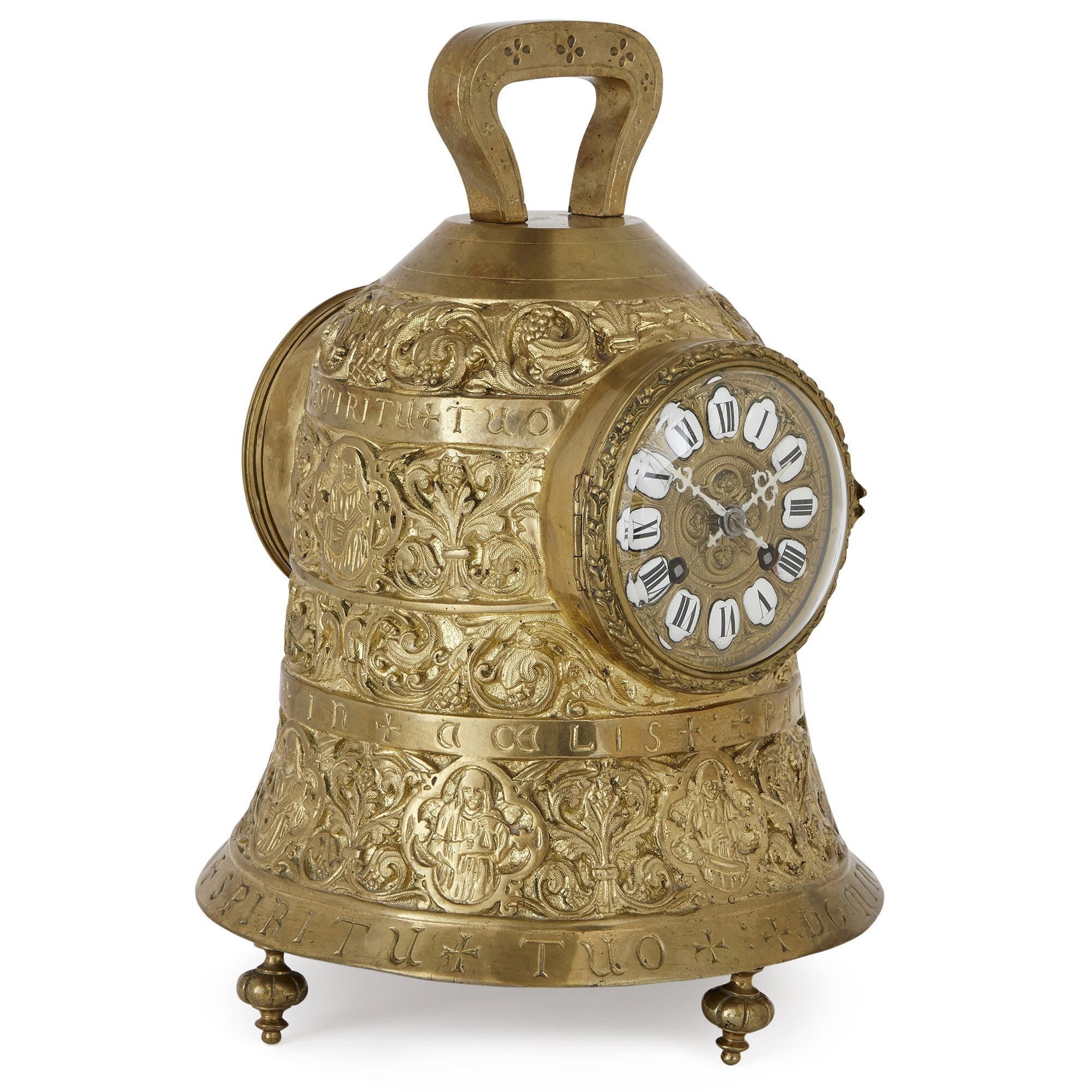 Antique French Brass Bell Shaped Clock Set Mayfair Gallery
