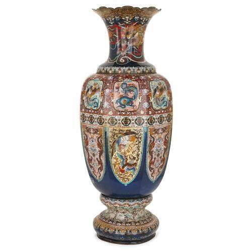 Very Large Japanese Meiji Period Cloisonne Enamel Vase Mayfair Gallery