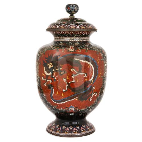 Large Japanese Meiji Period Cloisonne Enamel Lidded Vase Mayfair