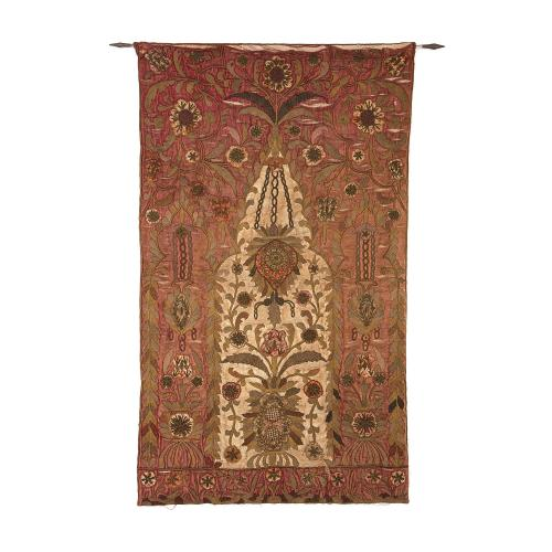 Red silk satin 18th Century embroidered prayer rug