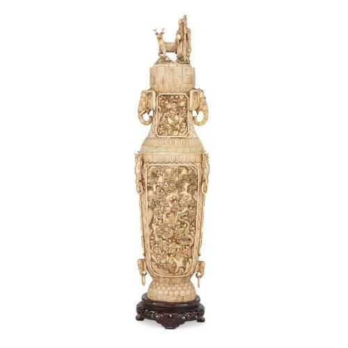 Antique Chinese ivory and bone engraved vase and stand