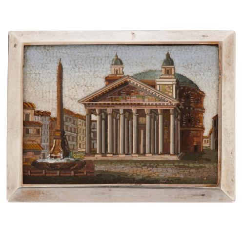 Antique micro-mosaic plaque of the Piazza Della Rotonda