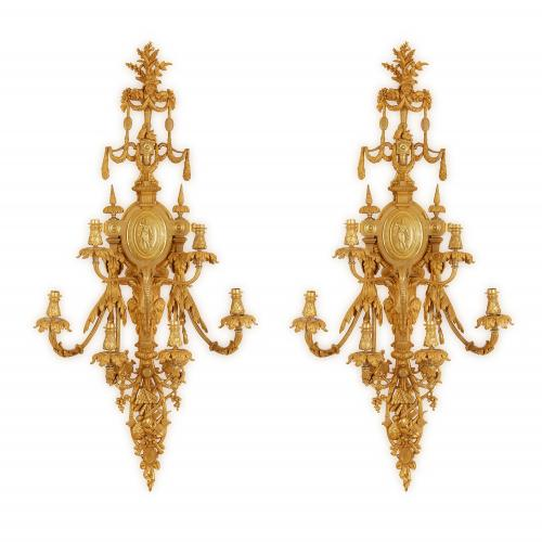 Very large pair of ormolu French antique wall lights